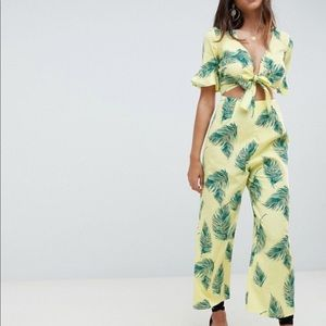 NEW ASOS Yellow Leaf Print Jumpsuit Cutout Tie 4